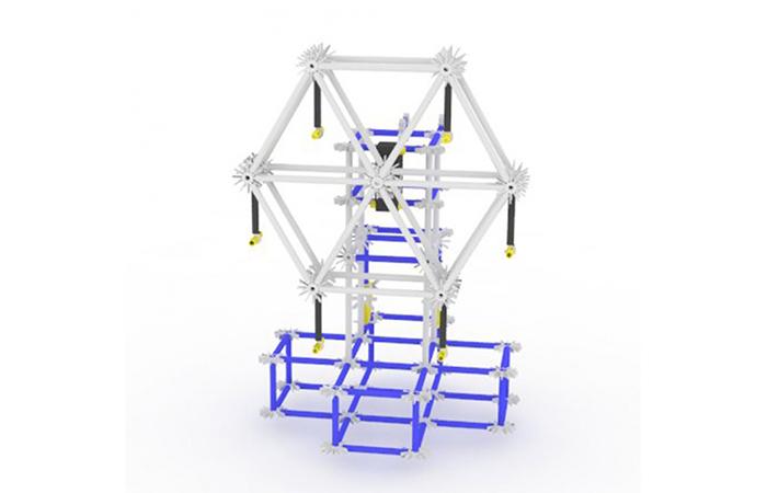 Tornkonstruktion byggt av ihopsatta plastkonstsruktioner