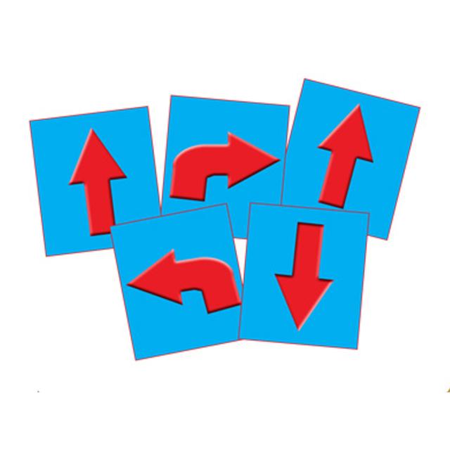 Fem rektangulära animerade kort i blått med röda bilar på