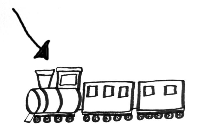 Ett tecknat tåg med en pil på loket